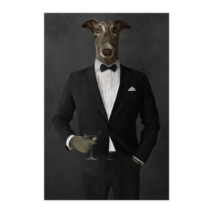 Greyhound Drinking Martini Wall Art - Black Suit