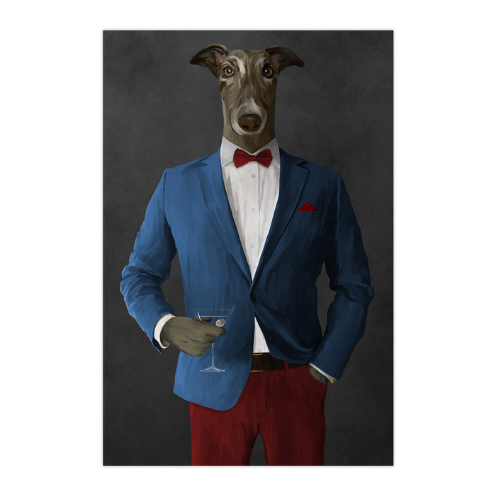 Greyhound Drinking Martini Wall Art - Blue and Red Suit