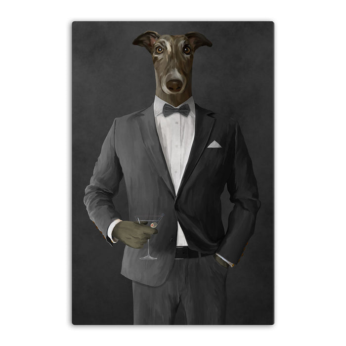 Greyhound Drinking Martini Wall Art - Gray Suit