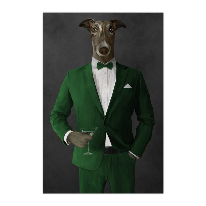 Greyhound Drinking Martini Wall Art - Green Suit