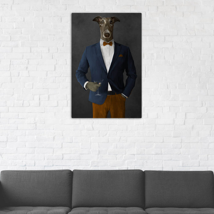 Greyhound Drinking Martini Wall Art - Navy and Orange Suit