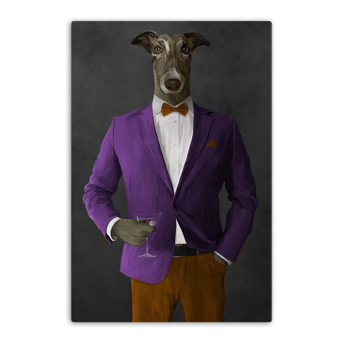 Greyhound Drinking Martini Wall Art - Purple and Orange Suit