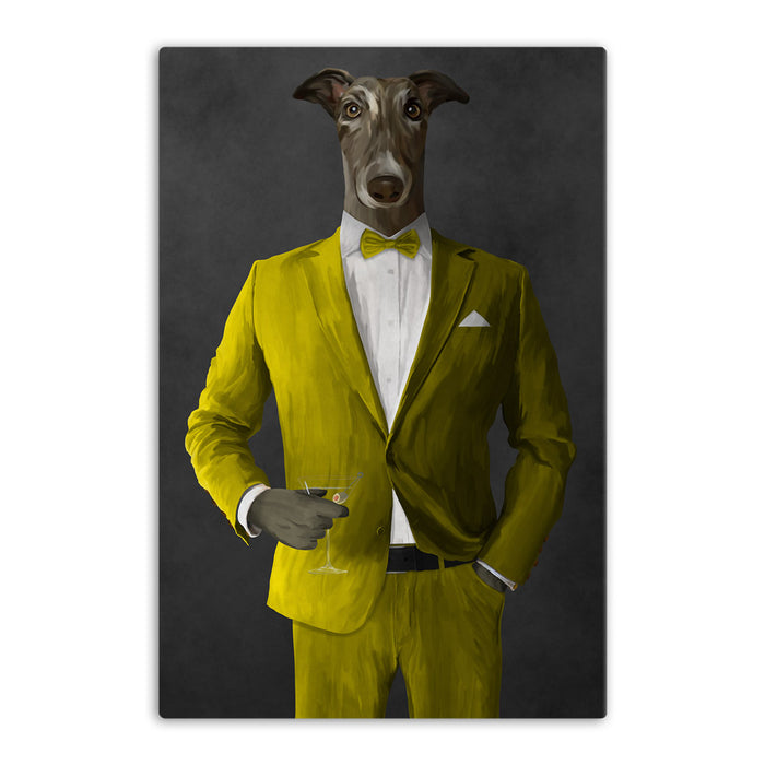 Greyhound Drinking Martini Wall Art - Yellow Suit