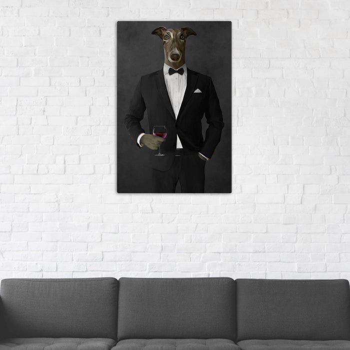 Greyhound Drinking Red Wine Wall Art - Black Suit