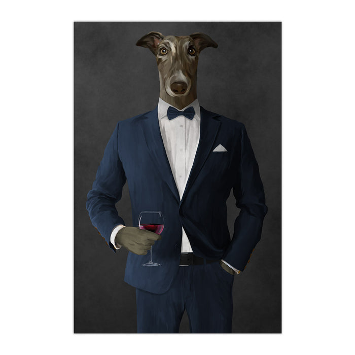 Greyhound Drinking Red Wine Wall Art - Navy Suit
