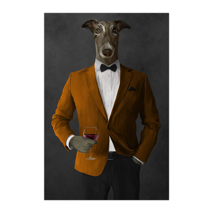 Greyhound Drinking Red Wine Wall Art - Orange and Black Suit