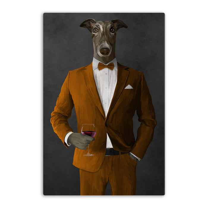 Greyhound Drinking Red Wine Wall Art - Orange Suit