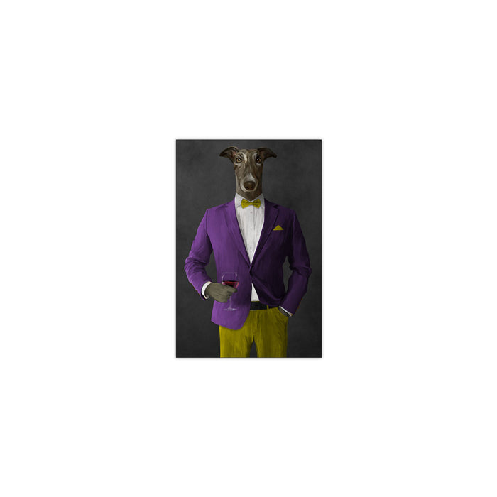 Greyhound Drinking Red Wine Wall Art - Purple and Yellow Suit