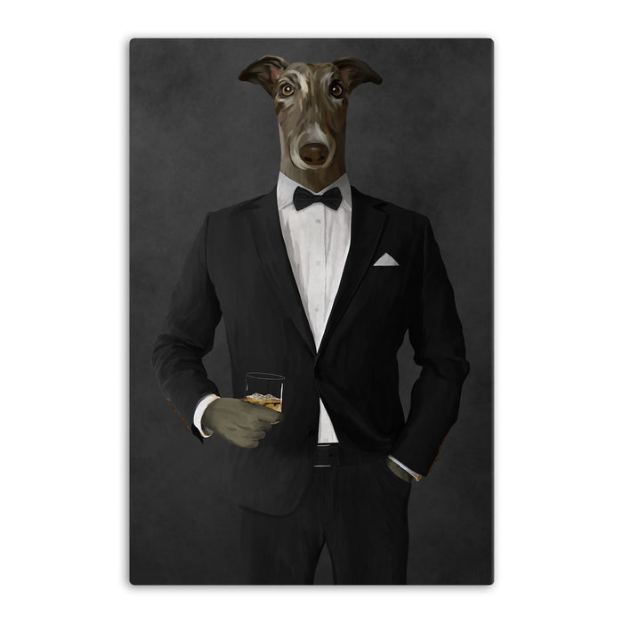 Greyhound Drinking Whiskey Wall Art - Black Suit