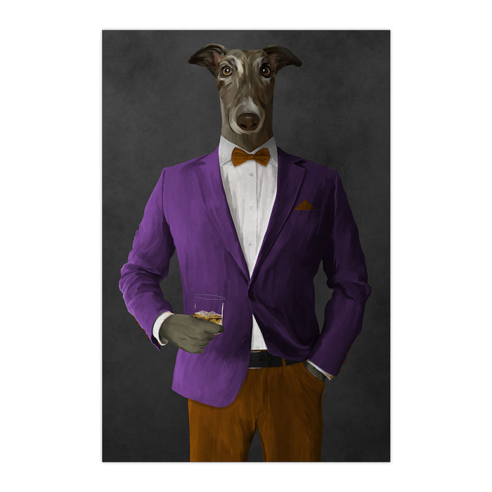 Greyhound Drinking Whiskey Wall Art - Purple and Orange Suit