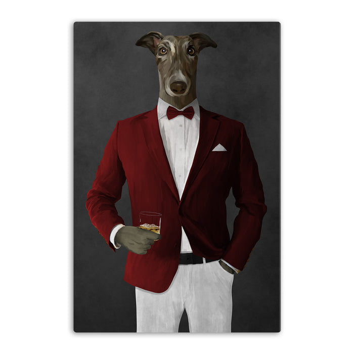 Greyhound Drinking Whiskey Wall Art - Red and White Suit