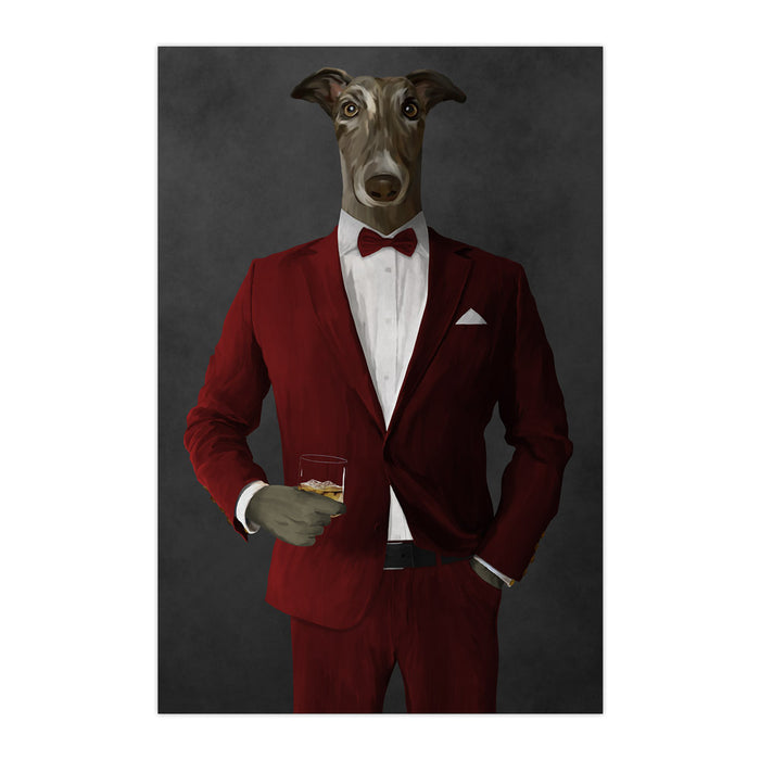 Greyhound Drinking Whiskey Wall Art - Red Suit