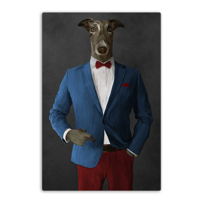 Greyhound Smoking Cigar Wall Art - Blue and Red Suit