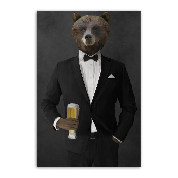 Grizzly Bear Drinking Beer Wall Art - Black Suit