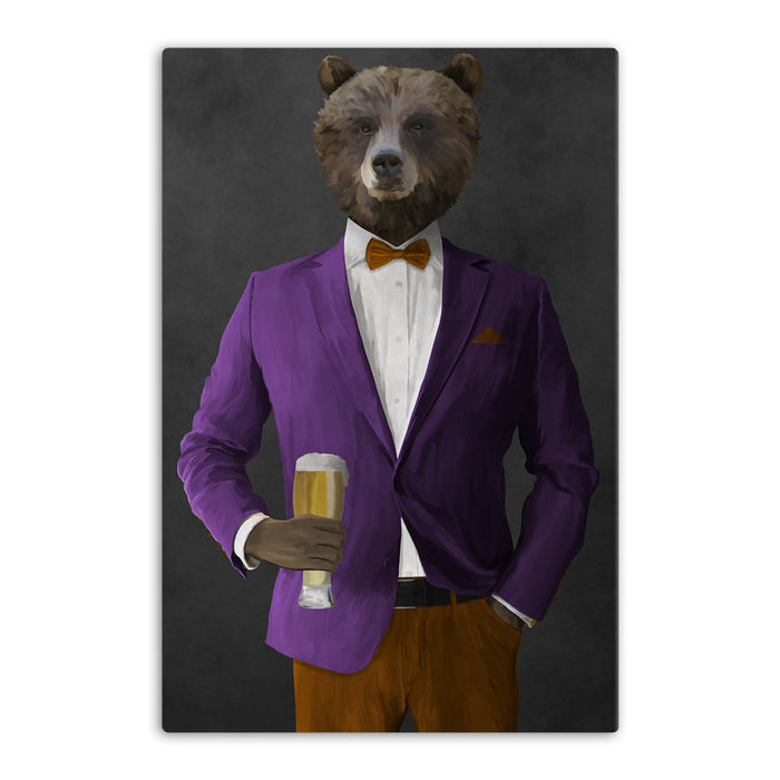 Grizzly Bear Drinking Beer Wall Art - Purple and Orange Suit