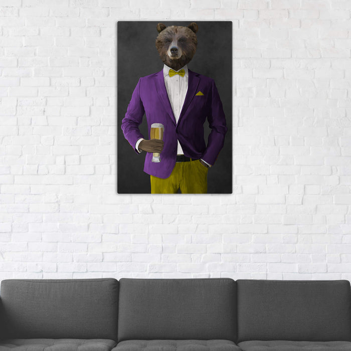 Grizzly Bear Drinking Beer Wall Art - Purple and Yellow Suit