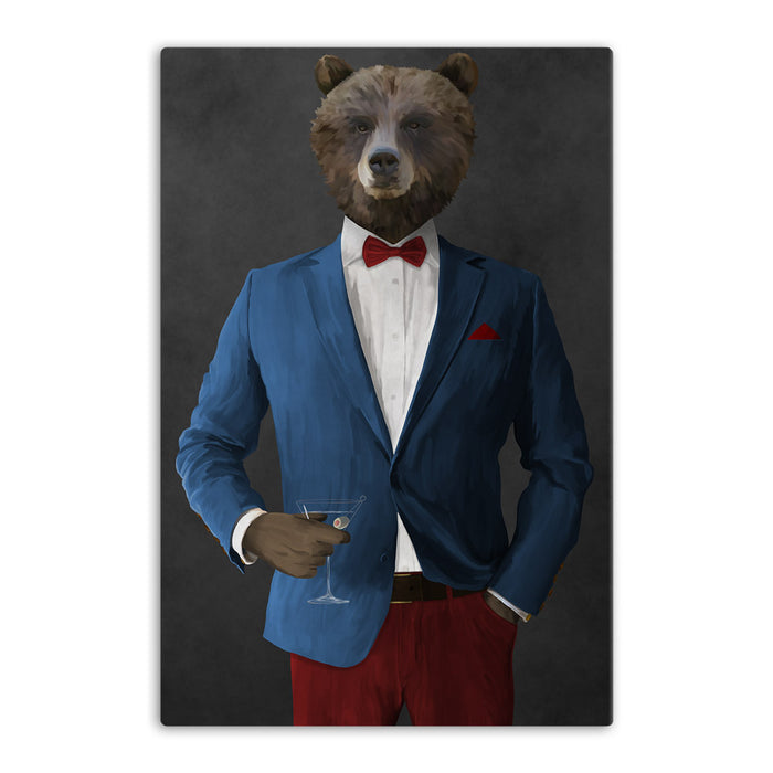 Grizzly Bear Drinking Martini Wall Art - Blue and Red Suit