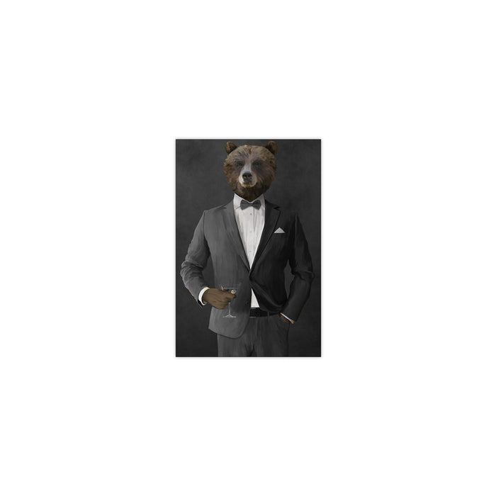 Grizzly Bear Drinking Martini Wall Art - Gray Suit