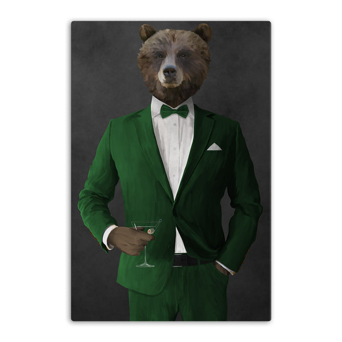 Grizzly Bear Drinking Martini Wall Art - Green Suit