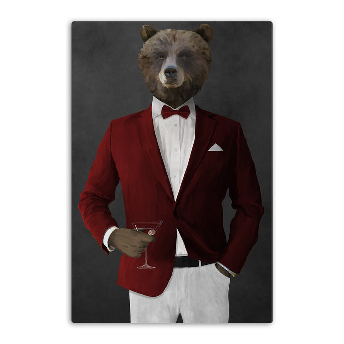 Grizzly Bear Drinking Martini Wall Art - Red and White Suit