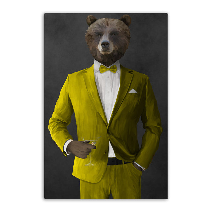 Grizzly Bear Drinking Martini Wall Art - Yellow Suit