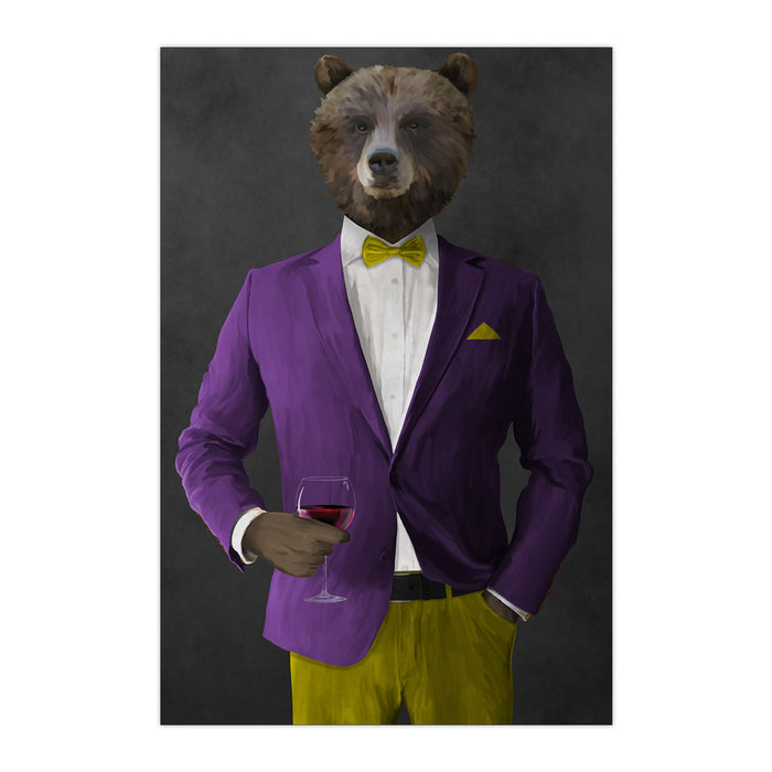 Grizzly Bear Drinking Red Wine Wall Art - Purple and Yellow Suit
