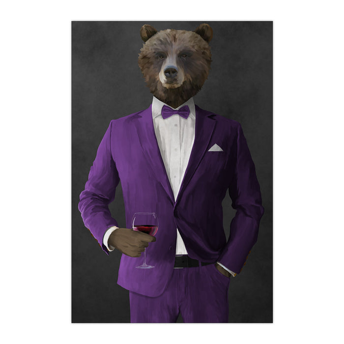 Grizzly Bear Drinking Red Wine Wall Art - Purple Suit