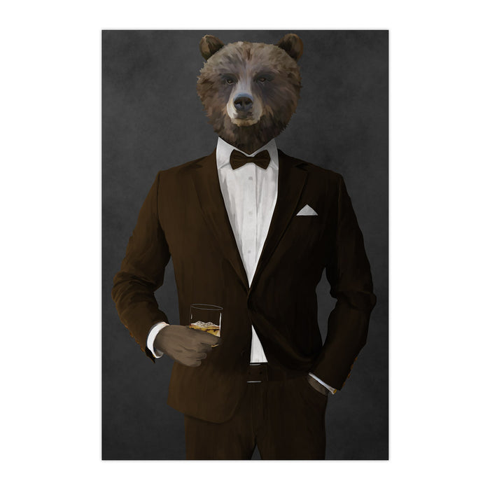 Grizzly Bear Drinking Whiskey Wall Art - Brown Suit