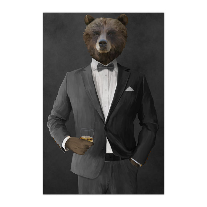Grizzly Bear Drinking Whiskey Wall Art - Gray Suit