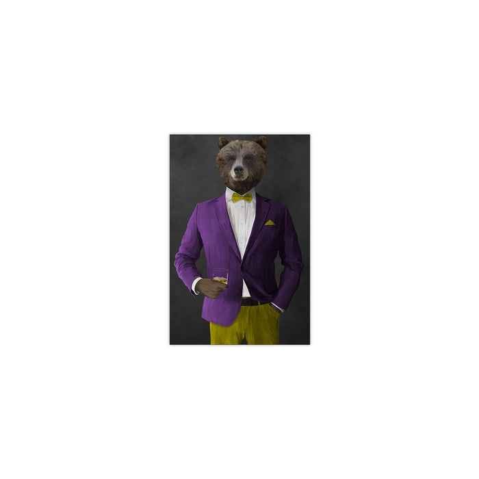 Grizzly Bear Drinking Whiskey Wall Art - Purple and Yellow Suit