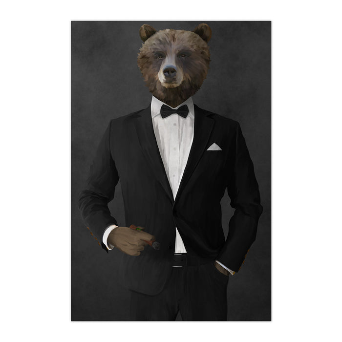 Grizzly Bear Smoking Cigar Wall Art - Black Suit