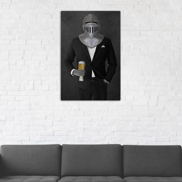 Canvas print of knight drinking beer wearing black suit in man cave art example