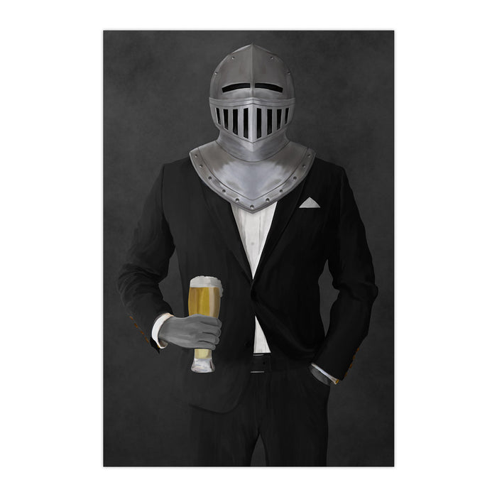 Large print of knight drinking beer wearing black suit art