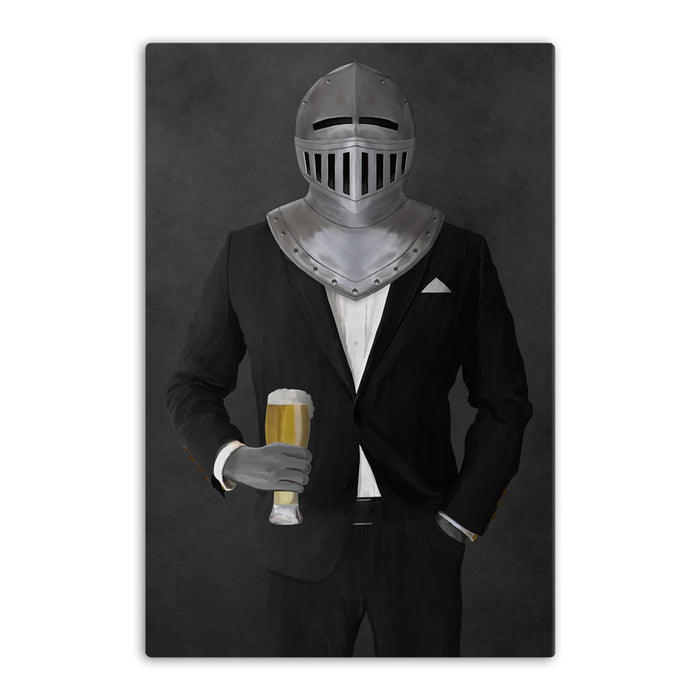 Large canvas of knight drinking beer wearing black suit art