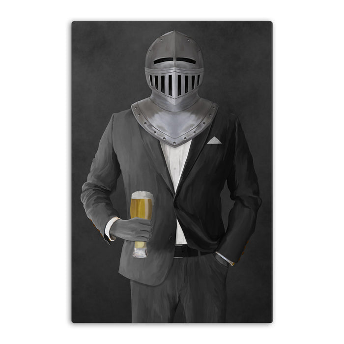 Large canvas of knight drinking beer wearing gray suit art