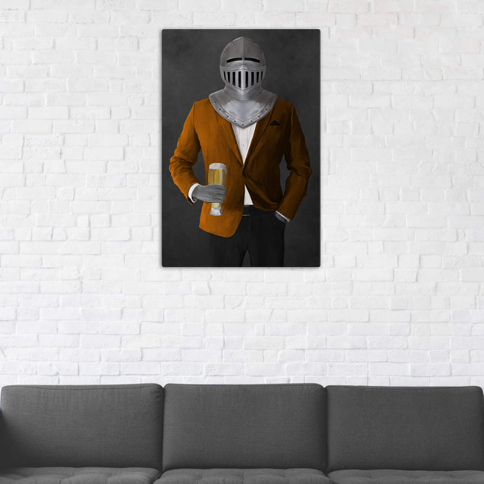 Canvas print of knight drinking beer wearing orange and black suit in man cave art example