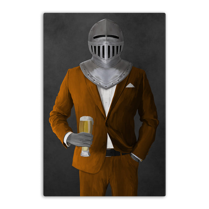 Large canvas of knight drinking beer wearing orange suit art