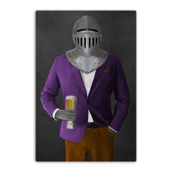 Large canvas of knight drinking beer wearing purple and orange suit art
