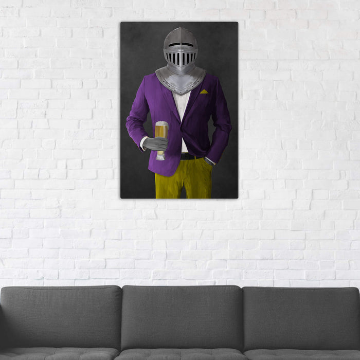 Canvas print of knight drinking beer wearing purple and yellow suit in man cave art example
