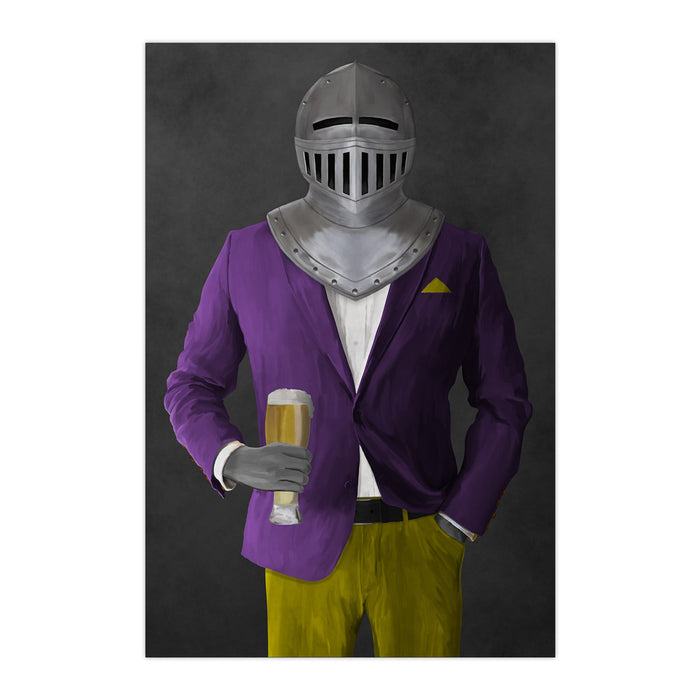 Large print of knight drinking beer wearing purple and yellow suit art