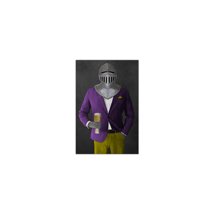 Small print of knight drinking beer wearing purple and yellow suit art
