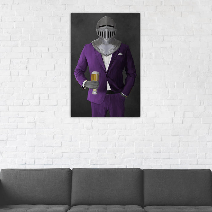 Canvas print of knight drinking beer wearing purple suit in man cave art example