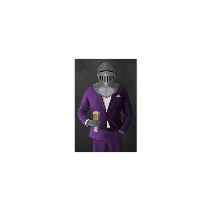 Small print of knight drinking beer wearing purple suit art