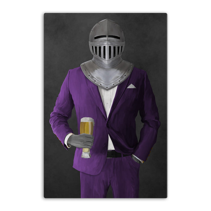 Large canvas of knight drinking beer wearing purple suit art