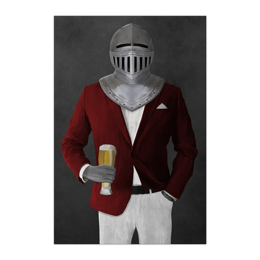 Large print of knight drinking beer wearing red and white suit art