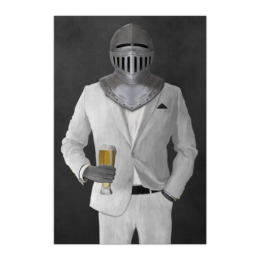 Large print of knight drinking beer wearing white suit art