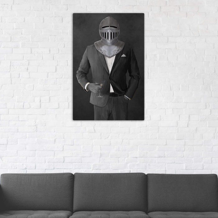 Canvas print of knight drinking martini wearing gray suit in man cave art example