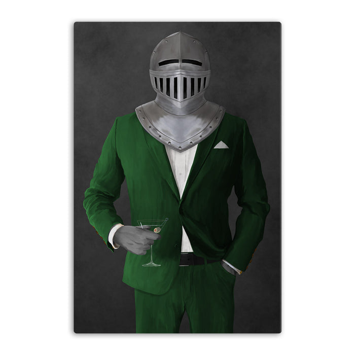 Large canvas of knight drinking martini wearing green suit art