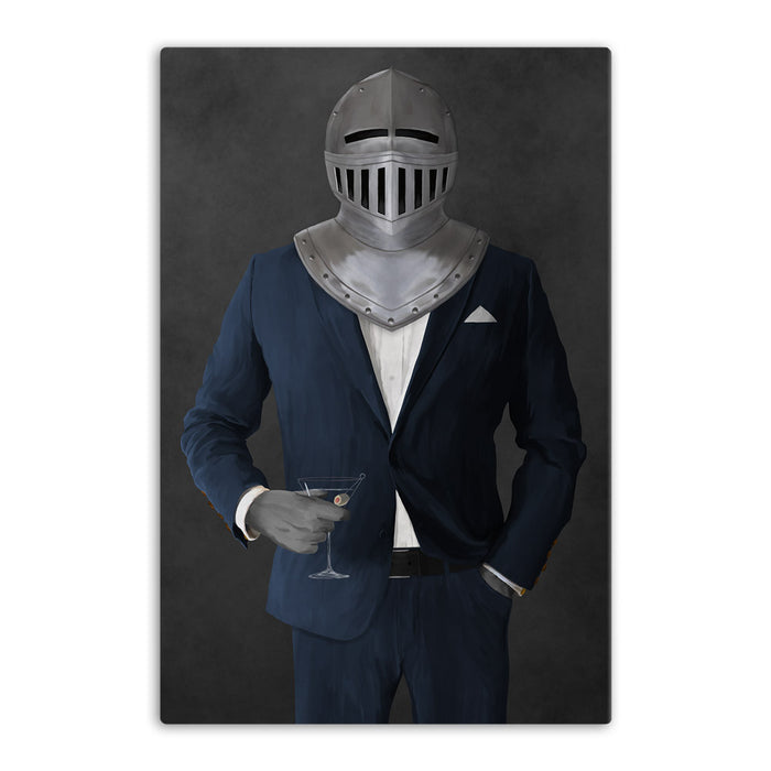 Large canvas of knight drinking martini wearing navy suit art