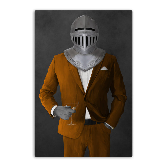 Large canvas of knight drinking martini wearing orange suit art